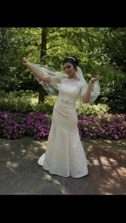 Davids Bridal White Size 4 Mermaid Dress on Queenly