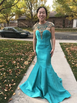 Mac Duggal Blue Size 4 Mermaid Dress on Queenly