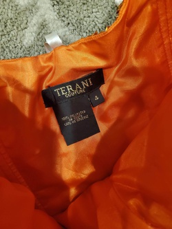 Terani Couture Orange Size 4 Side slit Dress on Queenly