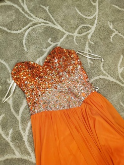 Queenly size 4 Terani Couture Orange Side slit evening gown/formal dress