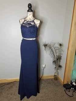 Queenly size 8 My Michelle Blue Side slit evening gown/formal dress