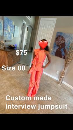 Queenly size 00  Orange Jumpsuit evening gown/formal dress