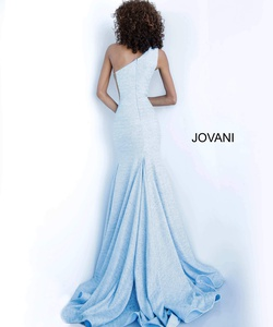 Style 67650 Jovani Blue Size 12 Fitted Train Mermaid Dress on Queenly