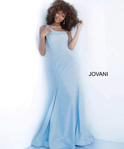 Queenly size 12 Jovani Blue Mermaid evening gown/formal dress