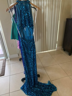 Sherri Hill Blue Size 0 Turquoise Tall Height Side slit Dress on Queenly
