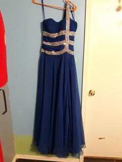 Ashley Lauren Blue Size 8 Jewelled Side Slit Sequin A-line Dress on Queenly