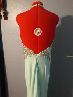 Tony Bowls Blue Size 10 Green V Neck Side slit Dress on Queenly