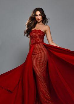 Queenly size 0 Tarik Ediz Red Straight evening gown/formal dress