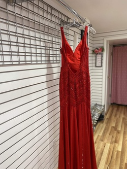 Ellie Wilde Red Size 2 Jersey Train Straight Dress on Queenly