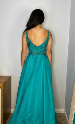 Sherri Hill Green Size 4 Side Slit Ball gown on Queenly