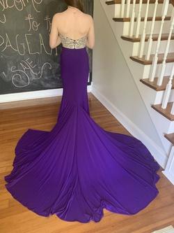 Mac Duggal Purple Size 4 Jewelled Jersey Mermaid Dress on Queenly