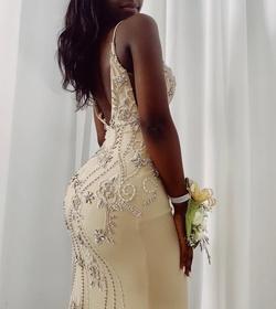 Gold Size 0 Side slit Dress on Queenly