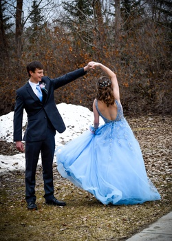 Mori Lee Light Blue Size 4 Lace Ball gown on Queenly