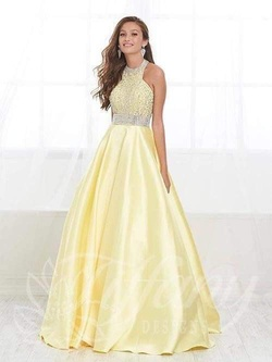 Tiffany Designs Yellow Size 2 Halter Ball gown on Queenly