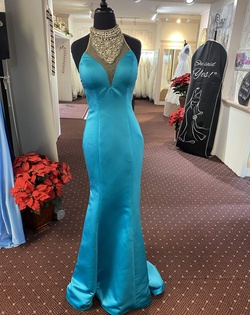 Queenly size 0 Jovani Blue Mermaid evening gown/formal dress
