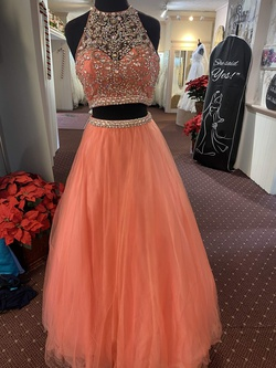 Queenly size 2 Blush Orange Ball gown evening gown/formal dress