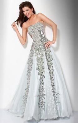 Queenly size 6 Jovani Silver Ball gown evening gown/formal dress