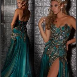 Mac Duggal Blue Size 4 Sweetheart Side slit Dress on Queenly