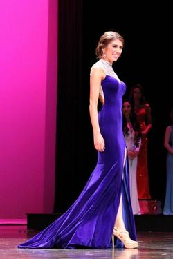 Madison James Blue Size 0 Backless Velvet Side Slit Straight Dress on Queenly