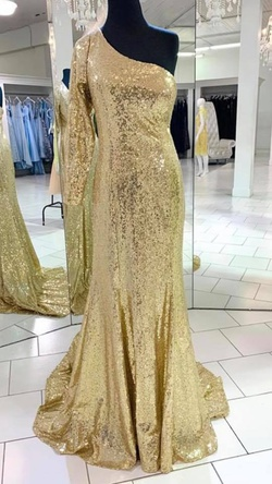 Queenly size 2 Laine Berry Custom Gold Straight evening gown/formal dress