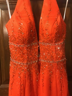 Xcite Orange Size 10 Halter Wedding Guest Cocktail Dress on Queenly