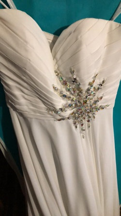 Jovani White Size 4 Mini Strapless Short Height A-line Dress on Queenly