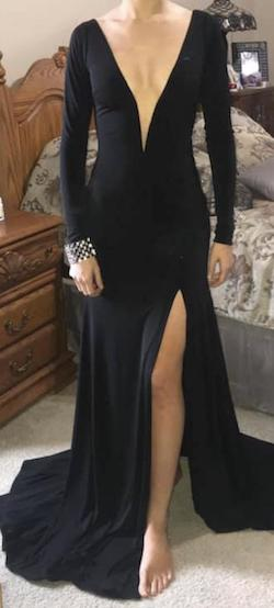 Queenly size 2 CUSTOM Juan Carlos Black Side slit evening gown/formal dress