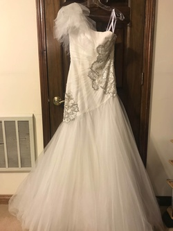 Sherri Hill White Size 6 Ivory Tulle Mermaid Dress on Queenly