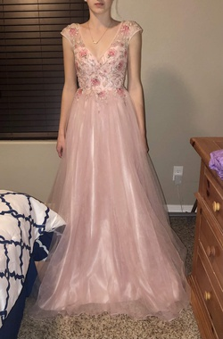 Queenly size 2 Gianni Bini Pink A-line evening gown/formal dress