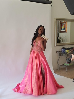 Sherri Hill Pink Size 6 Jewelled Side slit Dress on Queenly