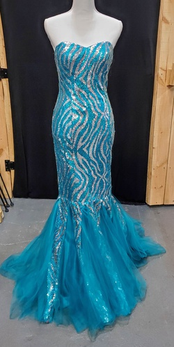 Queenly size 6 Princess Collection Blue Mermaid evening gown/formal dress