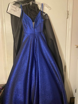 Ashley Lauren Blue Size 0 Plunge Ball gown on Queenly