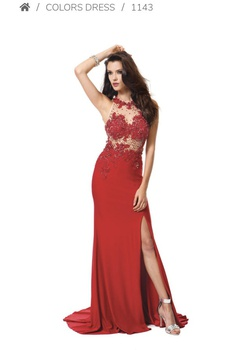Queenly size 2 Colors Red Side slit evening gown/formal dress