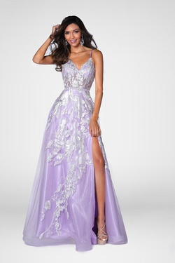 Style 7860 Vienna Purple Size 0 Lilac Side slit Dress on Queenly