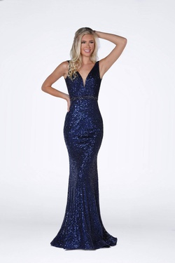 Style 8830 Vienna Blue Size 10 Navy Straight Dress on Queenly