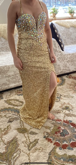 Royal Queen Gold Size 8 Pageant Sequin A-line Dress on Queenly
