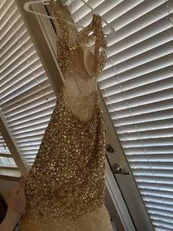 Jovani Gold Size 0 Jewelled Sheer Straight Dress on Queenly