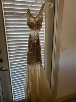 Queenly size 0 Jovani Gold Straight evening gown/formal dress