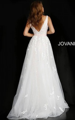 Jovani White Size 6 Tall Height Lace Train Dress on Queenly