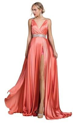 Queenly size 4 Cinderella Divine Pink Side slit evening gown/formal dress
