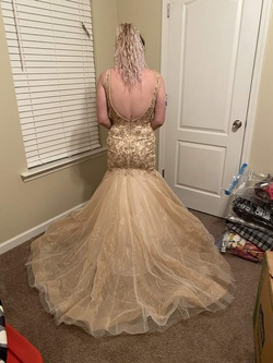 Mori Lee Gold Size 4 Plunge Sequin Mermaid Dress on Queenly