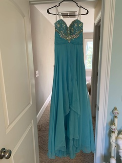 Rachel Allan Blue Size 4 Prom Sequin Jewelled Straight Dress on Queenly