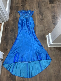 Queenly size 2  Blue Train evening gown/formal dress