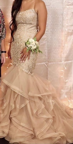 Style 52560 Sherri Hill Pink Size 6 Gold Mermaid Dress on Queenly