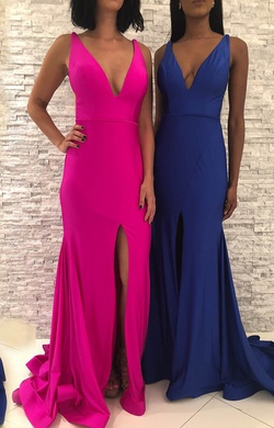 Jovani Pink Size 0 Train Mermaid Dress on Queenly