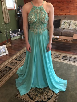 Queenly size 0 Jovani Green Straight evening gown/formal dress