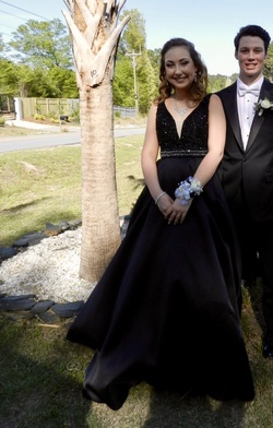 Queenly size 10 Mori Lee Black Ball gown evening gown/formal dress