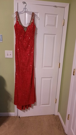 Queenly size 10 Midnight Moore Prom Collection  Red Train evening gown/formal dress