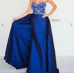 Queenly size 0 Vienna Blue Straight evening gown/formal dress