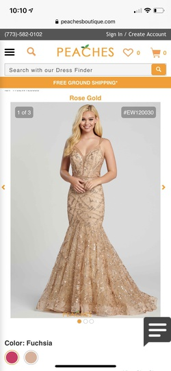 Style nan Ellie Wilde Gold Size 0 Pageant Mermaid Dress on Queenly